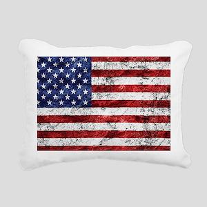 Grunge American Flag Rectangular Canvas Pillow