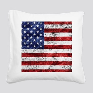 Grunge American Flag Square Canvas Pillow
