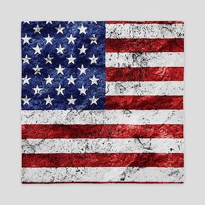 Grunge American Flag Queen Duvet