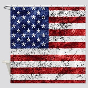 Grunge American Flag Shower Curtain
