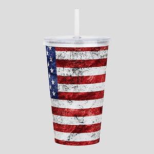 Grunge American Flag Acrylic Double-wall Tumbler