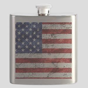 Grunge American Flag Flask