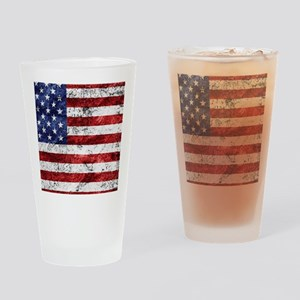 Grunge American Flag Drinking Glass
