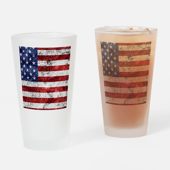 Grunge American Flag Drinking Glass