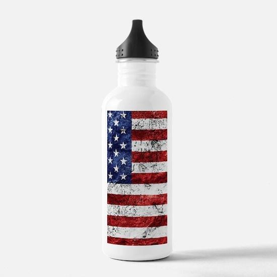 Grunge American Flag Water Bottle