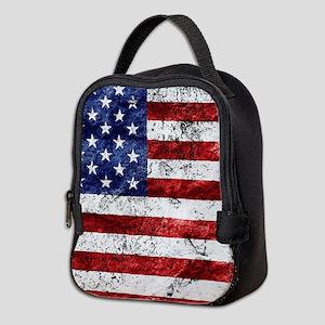 Grunge American Flag Neoprene Lunch Bag