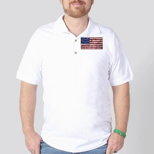 Grunge American Flag Golf Shirt