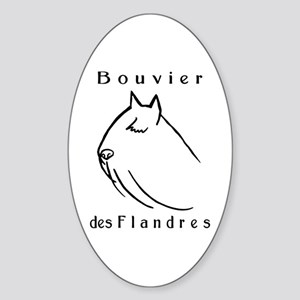 Bouvier Head Sketch w/ Text Oval Sticker