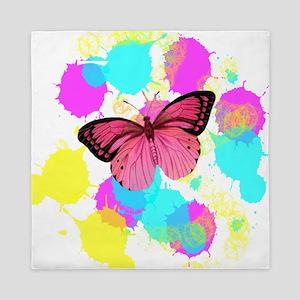 colorful splash pink butterfly Queen Duvet