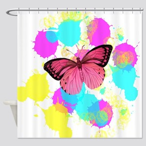 colorful splash pink butterfly Shower Curtain
