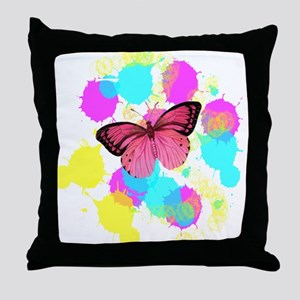 colorful splash pink butterfly Throw Pillow
