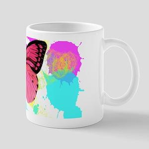 colorful splash pink butterfly Mugs