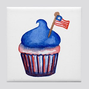 Watercolor 4th of July Cupcake Tile Coaster