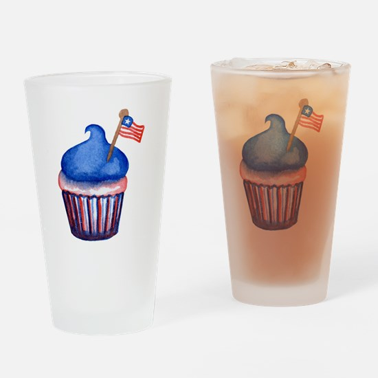 Watercolor 4th of July Cupcake Drinking Glass