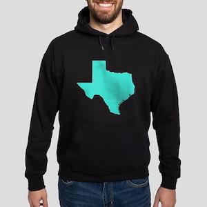 Turquoise Texas Outline Hoodie (dark)