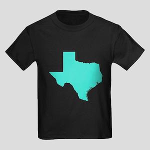 Turquoise Texas Outline Kids Dark T-Shirt