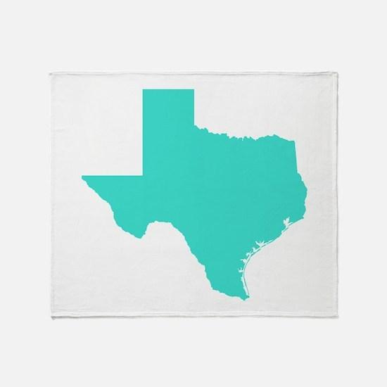 Turquoise Texas Outline Throw Blanket