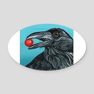 Black Raven Crow Oval Car Magnet