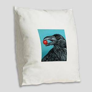 Black Raven Crow Burlap Throw Pillow