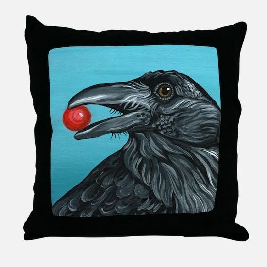 Black Raven Crow Throw Pillow