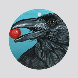 Black Raven Crow Ornament (Round)