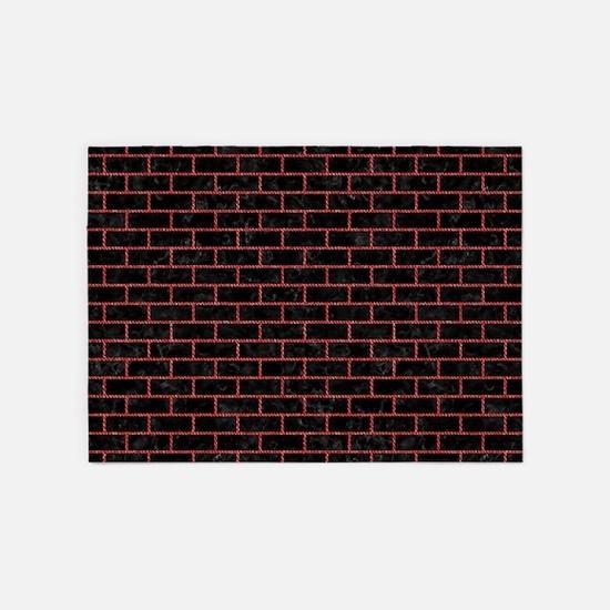 BRICK1 BLACK MARBLE & RED DENIM (R) 5'x7'Area Rug