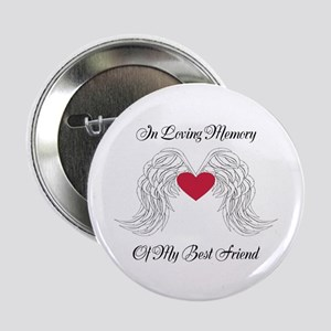 "Memorial Heart And Angel Wings 2.25"" Button"