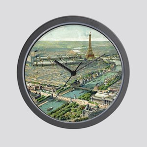 Vintage Pictorial Map of Paris (1900) Wall Clock