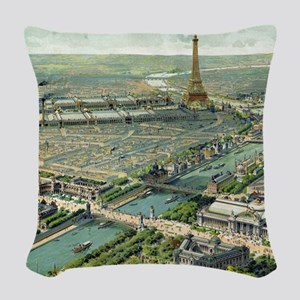 Vintage Pictorial Map of Paris Woven Throw Pillow