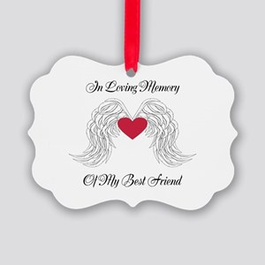 Memorial Heart And Angel Wings Ornament