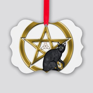 Pentacle Triquetra black cat Ornament