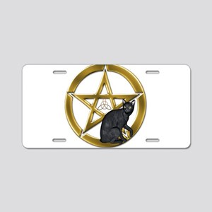 Pentacle Triquetra black cat Aluminum License Plat