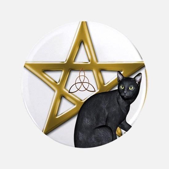 Pentacle Triquetra black cat Button