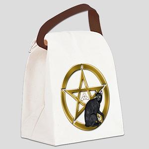 Pentacle Triquetra black cat Canvas Lunch Bag