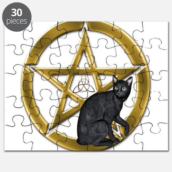 Pentacle Triquetra black cat Puzzle
