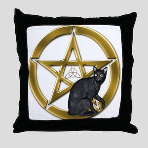 Pentacle Triquetra black cat Throw Pillow