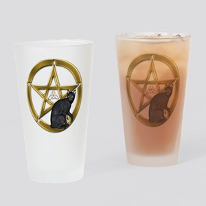Pentacle Triquetra black cat Drinking Glass