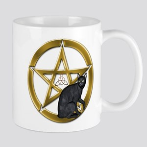 Pentacle Triquetra black cat Mugs