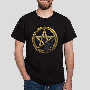 Pentacle Triquetra black cat T-Shirt
