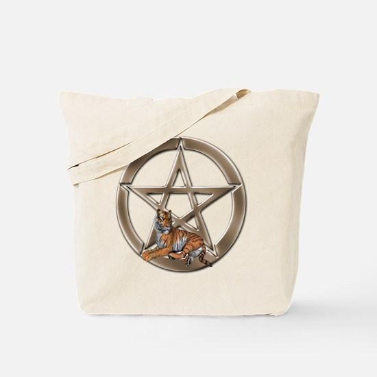 Pentacle Tiger Symbol Tote Bag