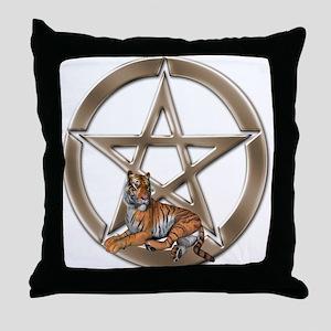 Pentacle Tiger Symbol Throw Pillow
