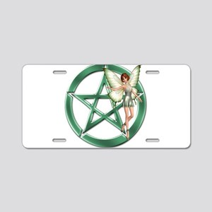 Green Pentacle Fairy Symbol Aluminum License Plate