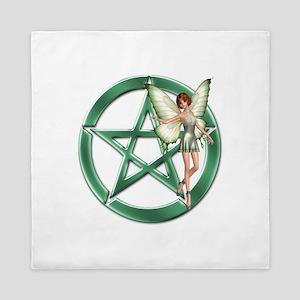 Green Pentacle Fairy Symbol Queen Duvet