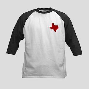 Barn Red Texas Outline Kids Baseball Jersey