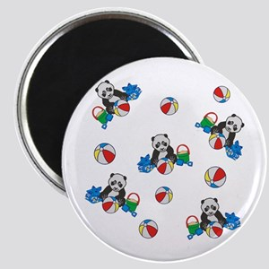 Beach Pandas with Beach Balls Magnets