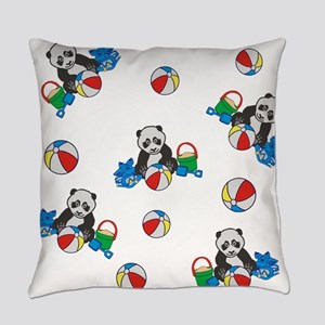 Beach Pandas with Beach Balls Everyday Pillow