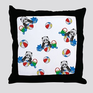 Beach Pandas with Beach Balls Throw Pillow