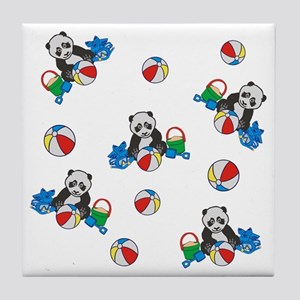 Beach Pandas with Beach Balls Tile Coaster