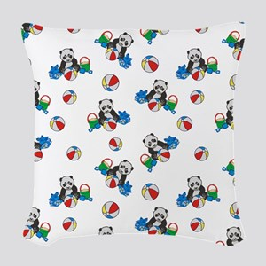 Beach Pandas With Beach Balls Woven Throw Pillow
