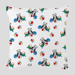 Beach Pandas With Beach Balls Woven Throw Pillow